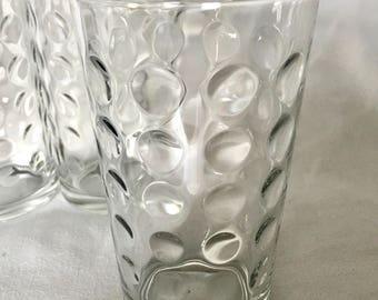 Polka dot water glass (1) vintage highball glass retro tumbler glass decorative glass barware glass excellent condition kitchenware