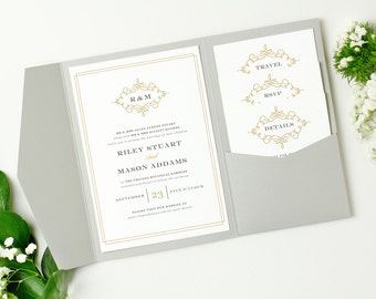 INSTANT DOWNLOAD | Printable Pocket Wedding Invitation | Ornate | Edit in Word or Pages | Print it Yourself | Mac & PC