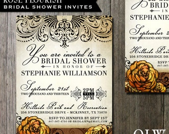 Floral Bridal Shower Invitation Wedding Invitation -  Digital File or Custom Printing - Rustic fancy elements and Flowers