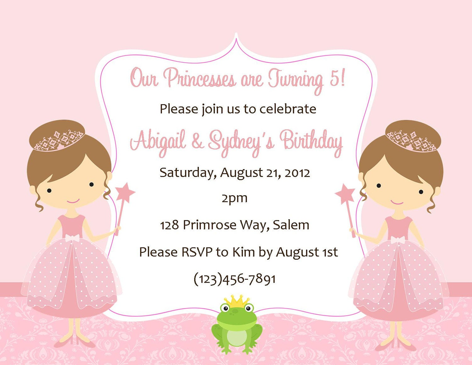 Twin Princess S Birthday Invitation Digital File