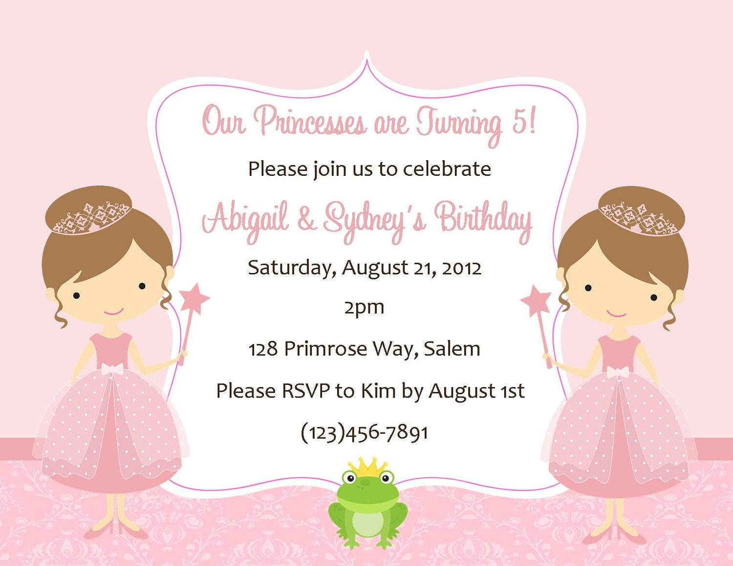 Twin princesss birthday invitation digital file zoom filmwisefo