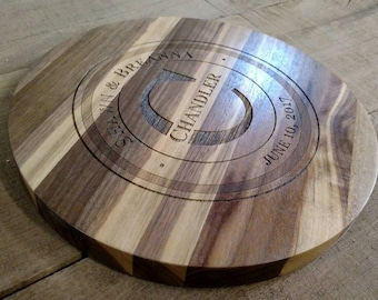 """Personalized Walnut Lazy Susan Turn Table 12""""-14"""" Center Piece Solid Hardwood"""