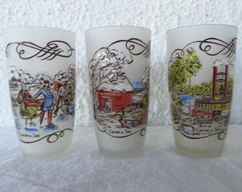 Vintage Hazel Atlas Gay Fad Studios Hand Painted Currier & Ives glasses