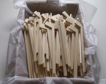 Lot of 100 Natural Wood Ice Hockey Player Sticks, DIY Craft, Themed Wedding Table Decor,Souvenir,Hockey Gift,Party Favor, Jacobs Wooden Toys