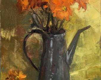 """Oil painting of flowers in a vintage oil can (""""Oil Can Floral"""")"""