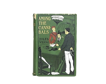 Antique Jules Verne Book - Among the Cannibals - Vintage Book Decor - Man Cave Decor - Decorative Book - Adventure Story - Man Cave Gift