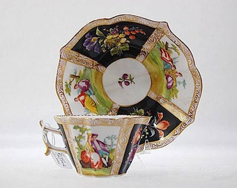 Antique German Dresden Meissen Porcelain Miniature Cup Saucer Set