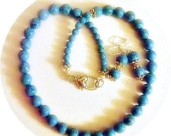 Turquoise Jewelry Set, Necklace Earrings, Turquoise Necklace, Turquoise Earrings, Turquoise and Silver, Southwestern Jewelry
