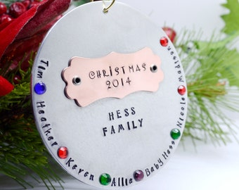 Handmade Family Christmas Ornament with Stones - Family Christmas Keepsake - Stamped Metal Christmas Ornament - Children's Names Ornament