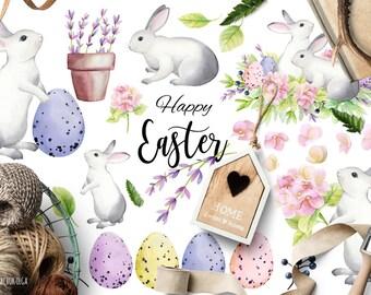 Watercolor Easter Clipart, Easter Clip Art, Easter Set, Easter bunny, Easter Eggs, Design Elements, Digital Instant Download PNG files.