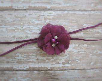 Plum headband, Fall headband, eggplant headband, purple headband, Thanksgiving headband, newborn headband, baby headband photo prop