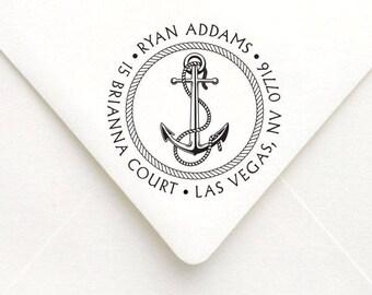 Personalized Nautical Anchor Return Address Stamp, Anchor Stamp, Self-Inking Return Address Stamp, Wedding Address Stamp, RSVP Stamp