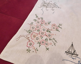 vintage TABLECLOTH with embroidery Cherry Blossoms & Pagodas