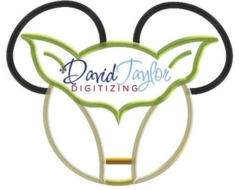 Mickey Head - Yoda - Embroidery Machine Design - Applique - Instant Download - David Taylor Digitizing