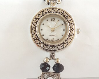 Black and silver beaded Watch