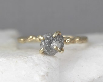 Twig Engagement Ring - Raw Uncut Rough Diamond Twig Ring - 14K Yellow Gold Branch Rings - Tree Branch Wedding Ring - Made in Canada