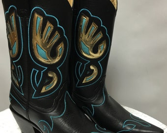Corral Boots Black/Blue & Gold Inlay in size 6.5M