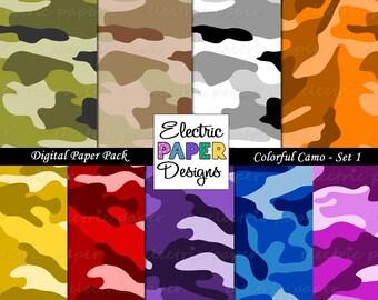 Camo Paper - Camouflage Printable Paper - Instant download - Set 1 - Green Brown Black Pink Red Orange