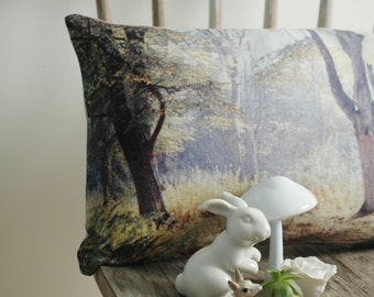 Woodland Pillow for Nursery Featuring English Countryside Art – 12x18 Lumbar Pillow Linen Fabric