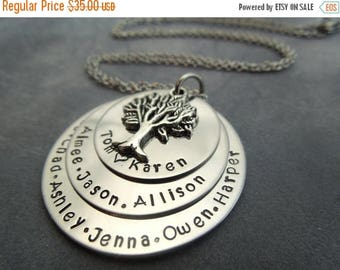 Holiday Sale Family tree hand stamped stainless steel necklace