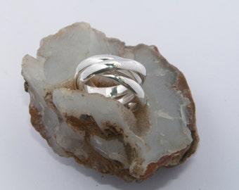 Handcrafted Sterling Silver Interlocking Triple Band Rolling Ring Trinity Russian Wedding-Custom Size