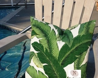 SALE - Tommy Bahama Indoor/Outdoor Swaying Palms Aloe LUMBAR Pillow Cover with Hidden Zipper