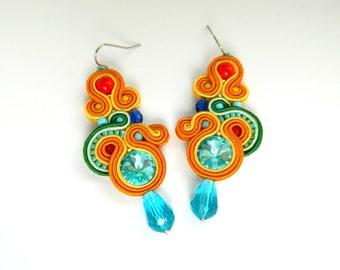 Rainbow earrings, colored earrings, statement earrings, embroidered jewelry, soutache earrings, boho jewelry, rainbow colored