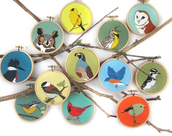 Wild Bird + Animal Ornament or Mini Hanging | 28 Designs | songbird woodland cute critters stocking stuffer christmas decor wildlife