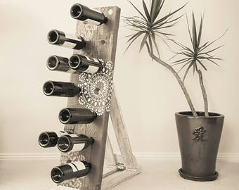 Recycled timber wine rack - Stencil Affair