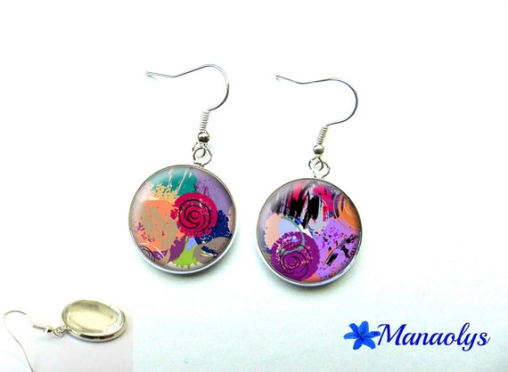 Colorful earrings, multicolor paint 1128 glass cabochons