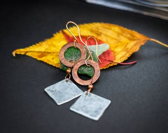 Copper and aluminium earrings, long earrings, hammered copper earrings, lightweight earrings, metal earrings, copper jewellery