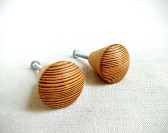 Set of 2 Vintage Natural Wood Drawer Knobs, Pulls or Handles, 1-1/4 Inch Diameter Knobs with Screws, Wooden Tapered Cone Shaped Knob Pulls