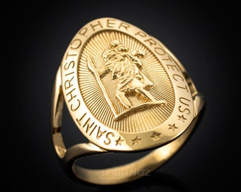 Gold Saint Christopher Oval Ring (yellow, white, rose gold)