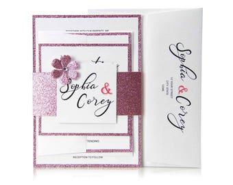 Wedding Invitations, Set, Calligrapgy Invites, Custom Printed, Wedding Design, Reception Card, RSVP Card