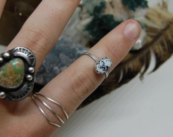 Sterling Silver White Buffalo Turquoise Stacking Ring