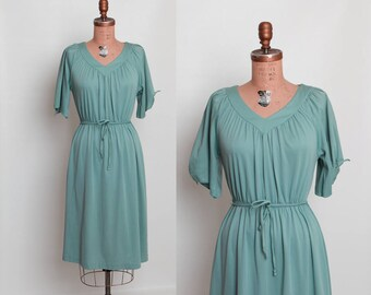 1970s vintage dress sea foam green cut out sleeves