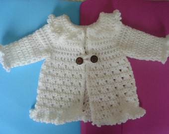 Instant downoad Cardigan Hat Booties Newborn Layette Crochet Pattern PDF file written in US terminology Large Print