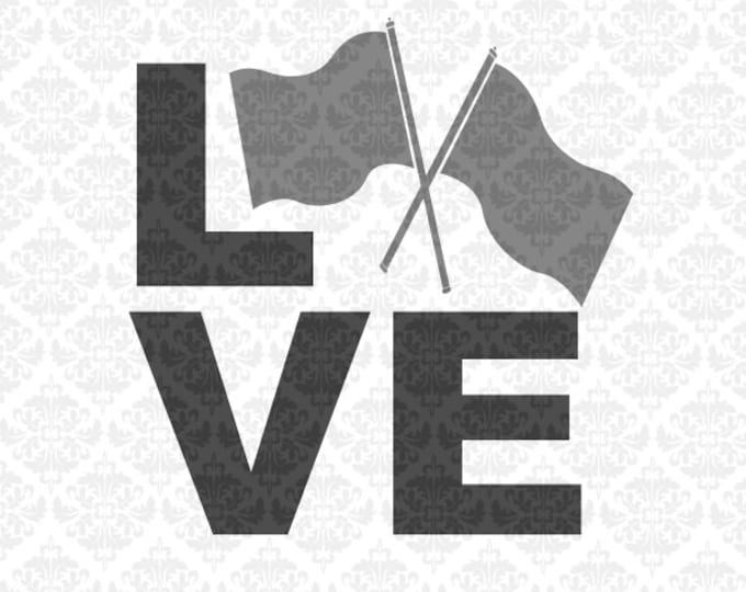 Love Flags Monogram Colorguard Color Guard Marching Band SVG DXF STUDIO Eps Png Vector Instant Download Commercial Cricut Silhouette