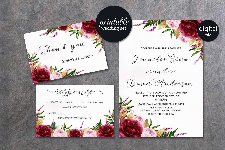 Floral wedding invitation marsala wedding invitation pink description watercolor marsala burgundy gold floral wedding invitation stopboris Images
