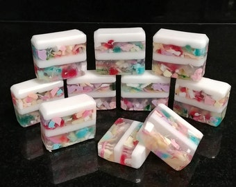 Kaleidosoap Bar, Handmade Soap, Low Scent, Homemade Soap, Handcrafted Soap, Glycerin Soap, Confetti, Beach Glass, Kids Soap, Fun Soap