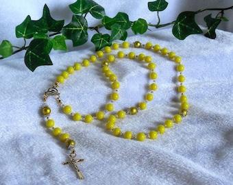 Bright Yellow Rosary  N-127