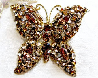 Gold Butterfly Brooch, Topaz and Citrine Color Rhinestones, Large Butterfly Pin