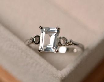 White topaz ring, solitaire ring, gemstone sterling silver, white topaz engagement ring