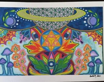Interdimensional Travel to Planet Flower of Life Merkaba Visionary Art Print Hand Embellished Sacred Geometry Watercolor Painting