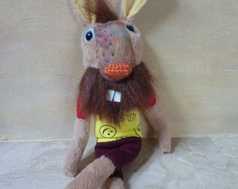 Funny  hipster bunny with beard , stuffed plush toy, hare, Easter bunny