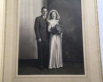 Vintage 1930s Sepia Wedding Couple Cabinet Photograph