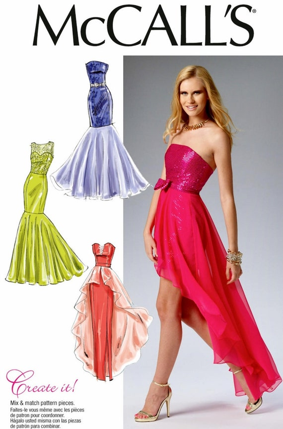 Sewing Pattern Strapless Evening Gown Pattern, High Low Formal Dress ...