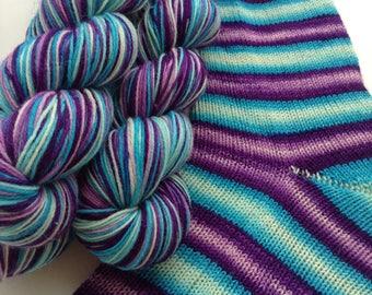 Hand dyed self striping merino sock yarn - Hopscotch