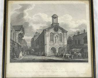 Antique Framed Engraving, Black and White, Moot Hall, 19th Century, Traditional Decor, Old Engraving, Unique Antique, Street Scene, Moot