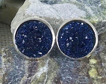 Navy Druzy Earrings - Druzy - Druzy Jewelry - Druzy Earrings - Drusy - Bridesmaid Gift - Navy - Stud Earrings - Navy Jewelry - Gift - Blue